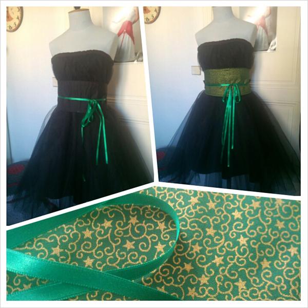 Robe noire avec obi vert